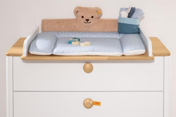 PAIDI Steiff Lotte & Fynn Möbelkommode mit Wickelaufsatz und Knopf mit Bärchen-Design